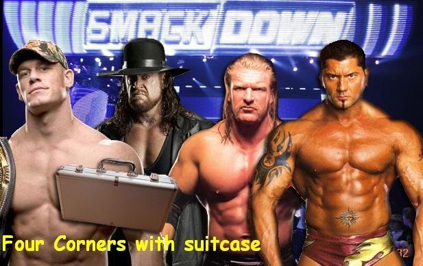 Four Corners with suitcase - Undertakr vs Cena vs. Batista vs. Triple H Smackd14
