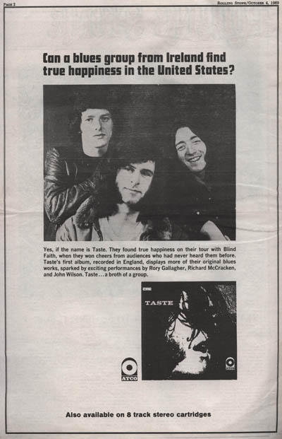 Taste - Taste (1969) Advert10