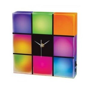 Horloge multicolore amusante, pas chère Deco_f11