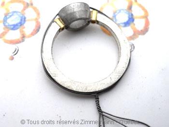 Bague argent et or, grenat 7 mm et deux diamants 2/100ct Baacb014