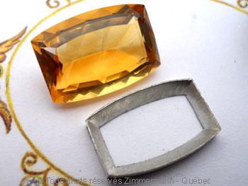 Pendentif Citrine et Diamant bleu Peafb015