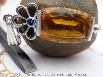 Pendentif Citrine et Diamant bleu Peafb028