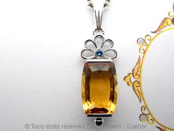 Pendentif Citrine et Diamant bleu Peafb029