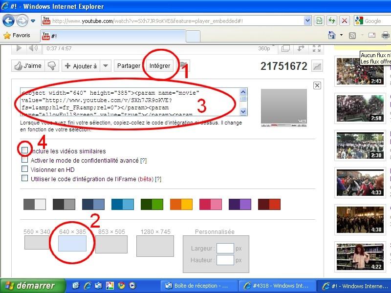 Comment intégrer une vidéo Youtube sur le forum (Internet Explorer et Google Chrome) ? Youtub10