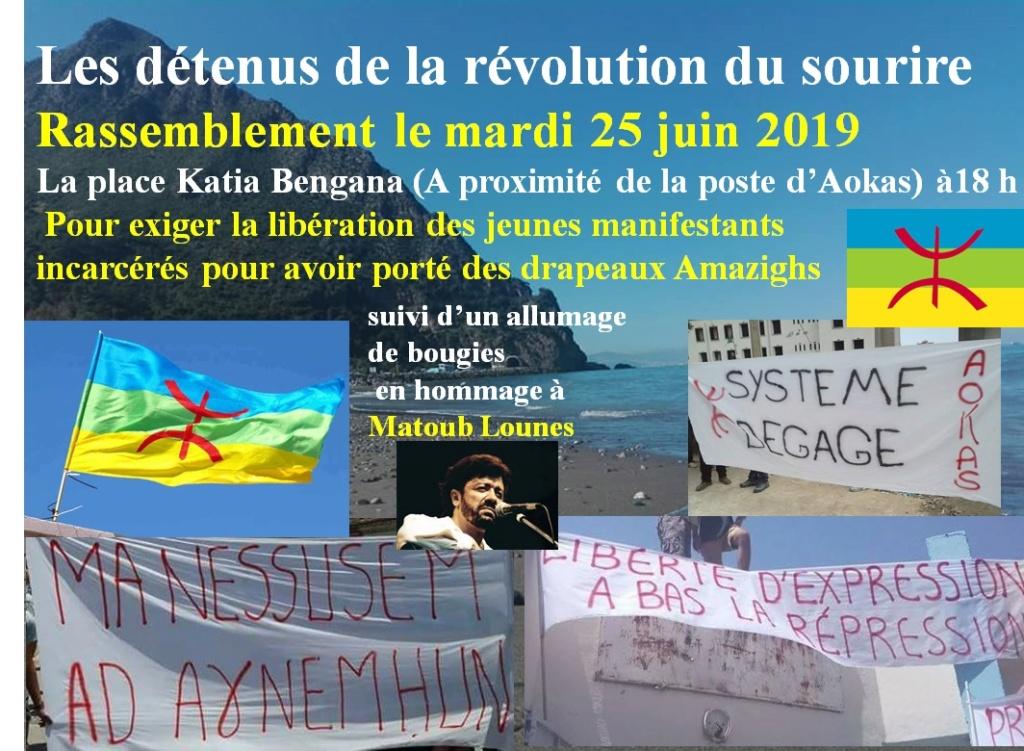 Rassemblement à Aokas pour exiger la libération des prisonniers du drapeau Amazigh 25 juin 2019 10854