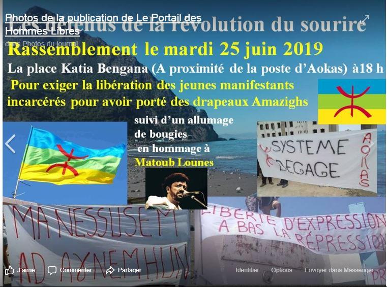 Rassemblement à Aokas pour exiger la libération des prisonniers du drapeau Amazigh 25 juin 2019 10855