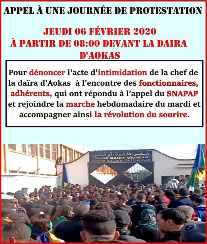 PROTESTATION DEVANT LE SIEGE DE LA DAIRA D'AOKAS LE JEUDI 06 FEVRIER 2020  11883