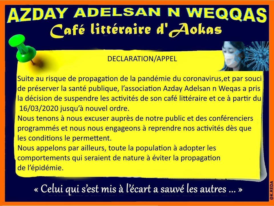 Coronavirus: Le café littéraire d'Aokas suspend ses activités  12388