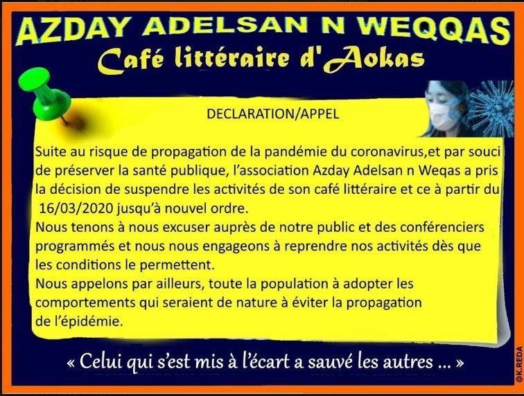 Coronavirus: Le café littéraire d'Aokas suspend ses activités  12389