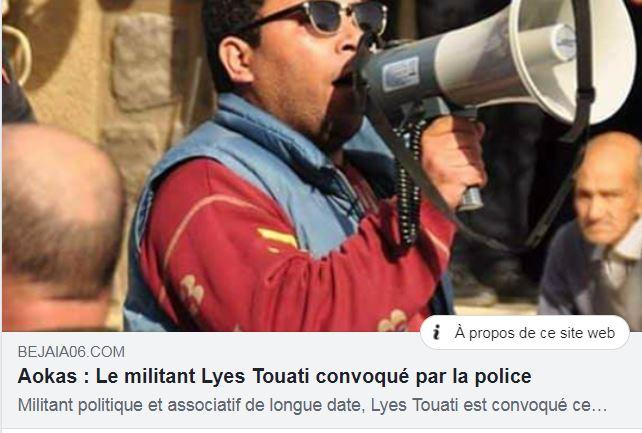 Aokas : Le militant Lyes Touati convoqué par la police 1807