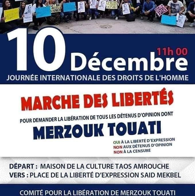 marche des libertés le 10 décembre 2018 à Bejaia pour libérer Merzouk Touati et tous les détenus d'opinion 20199