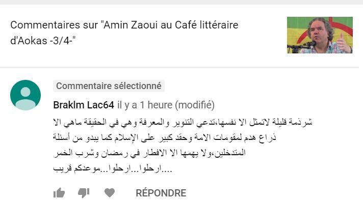 Le genre de menace que le Café Littéraire d'Aokas reçoit 211