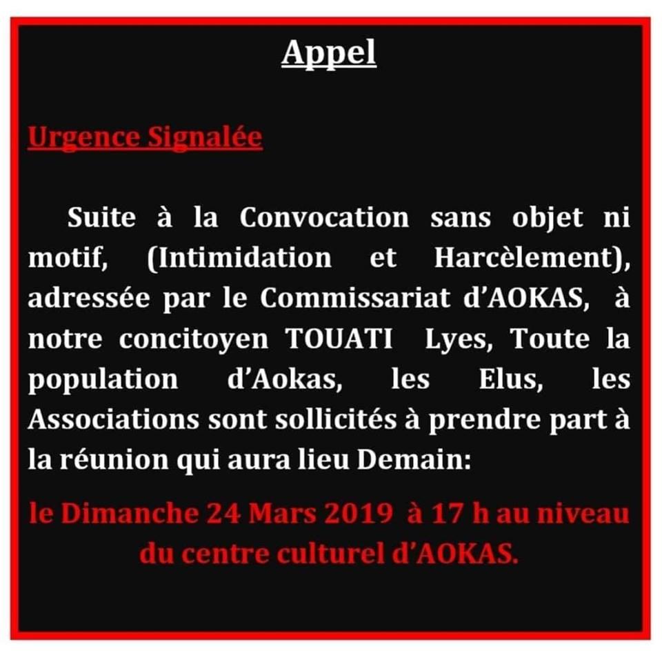 Rassemblement au centre culturel d'Aokas le dimanche 24 mars 2019 à 17 heures pour s'insurger contre la convocation injuste de Lyes Touati  221