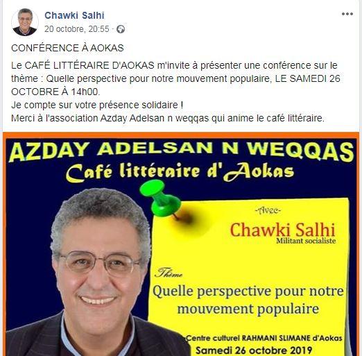Chawki  Salhi à Aokas  le samedi 26 Octobre 2019 2574