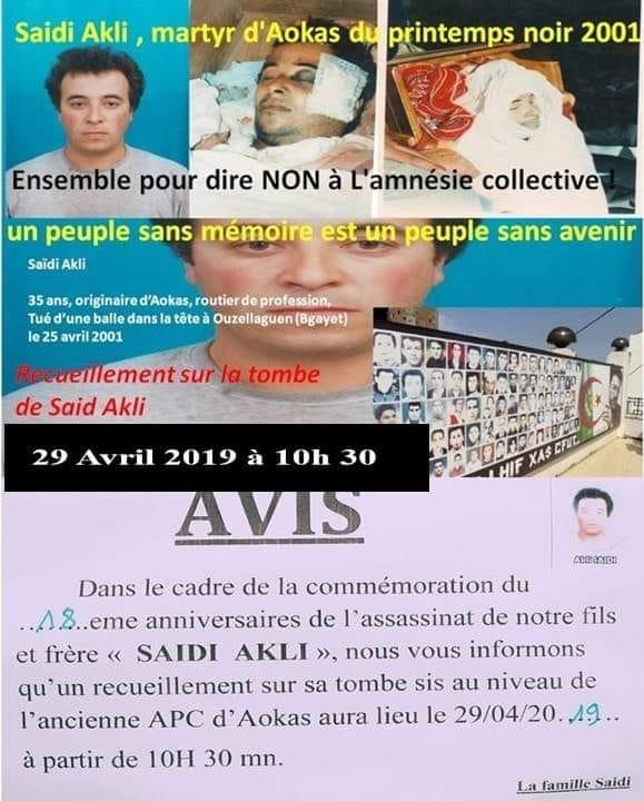 Recueillement le 29 avril 2019 sur la tombe de Saidi Akli à Aokas. 278