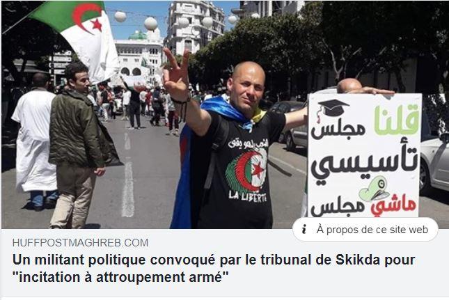 Messaoud Leftissi, est poursuivi par le tribunal de Skikda pour incitation à attroupement armé 336