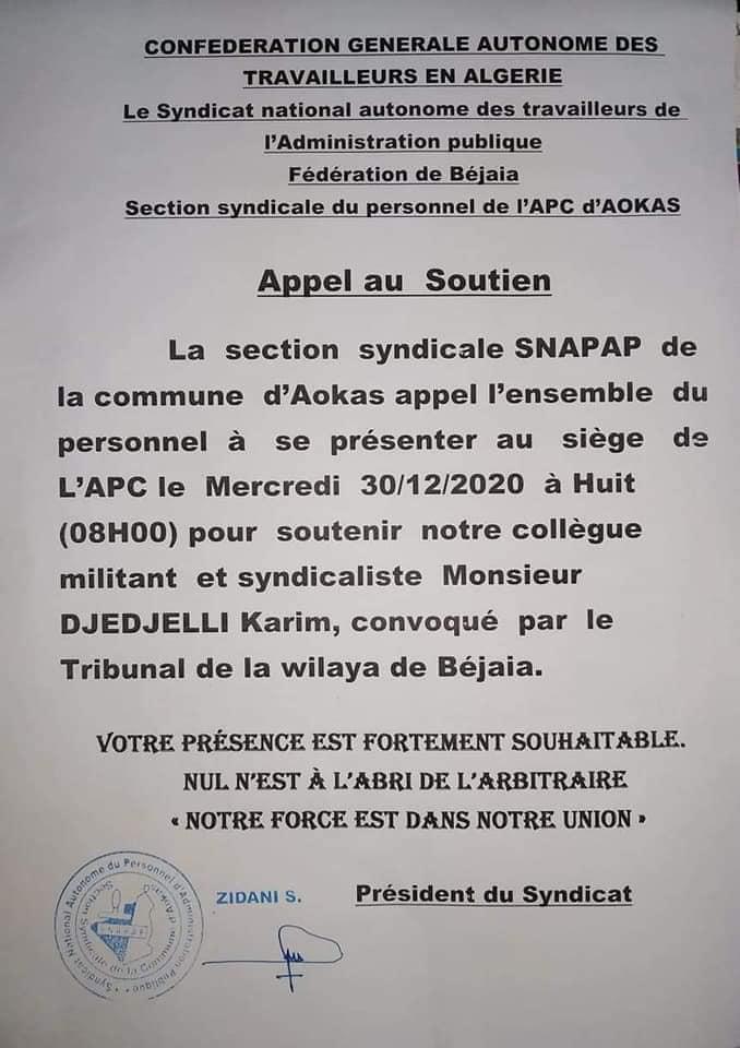 Action de soutien de toutes les sections SNAPAP pour le syndicaliste et militant Karim Djidjeli le 30/12/2020 5282