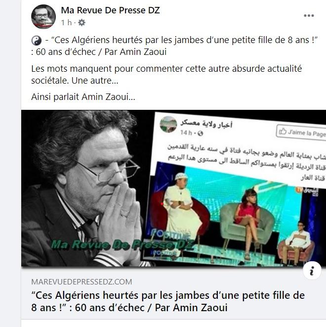 Ces Algeriens heurtés par les jambes d'une petite fille de 08 ans 738
