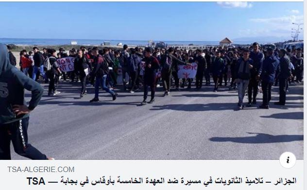 marche des lycéens contre le cinquième mandat à Aokas le lundi 25 février 2019 Captur80