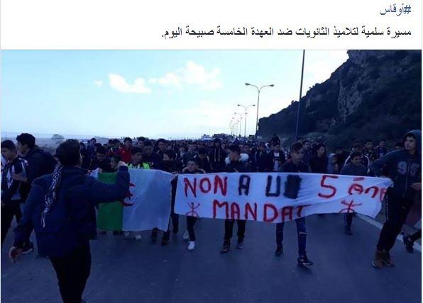 marche des lycéens contre le cinquième mandat à Aokas le lundi 25 février 2019 Captur81