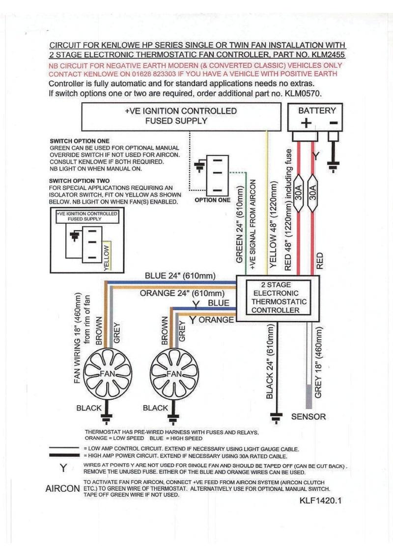 branchement d'un ventilateur kenlowe Schama10
