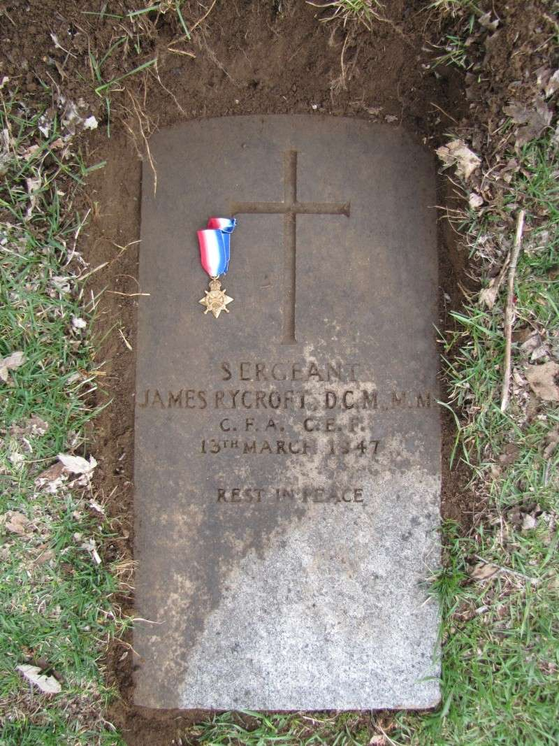 Grave stone of Sgt James Rycroft DCM MM  Img_2711