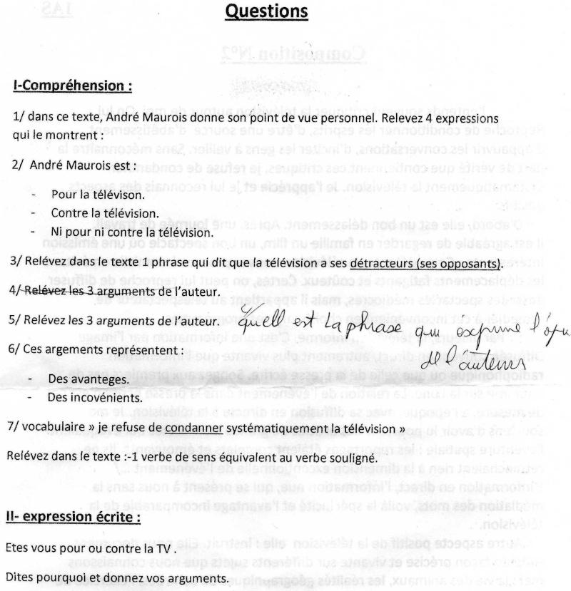 اختبار اللغة الفرنسية للسنة الاولى علمي Uouous11