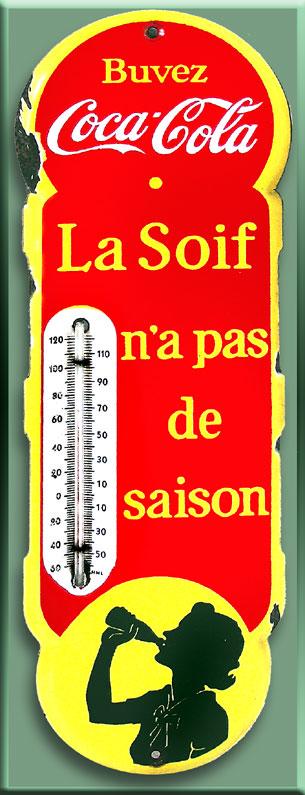 thermometre coca cola  et calendrier 1918 d une vedette de cinema  93-2410