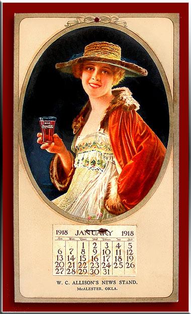 thermometre coca cola  et calendrier 1918 d une vedette de cinema  Coke_110
