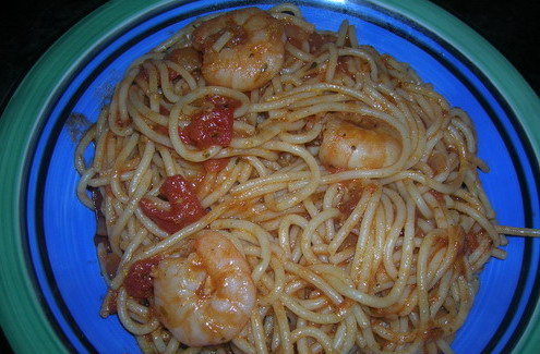 red sauce spagetti with prawns 111