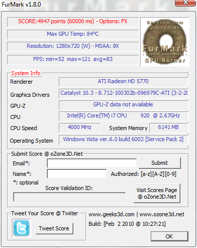 FurMark OpenGL Benchmark and Graphics Card Stability Test 2010-013