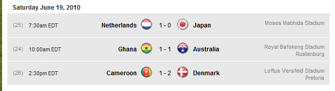 The FIFA World Cup 2010 South Africa results thread Sat20110
