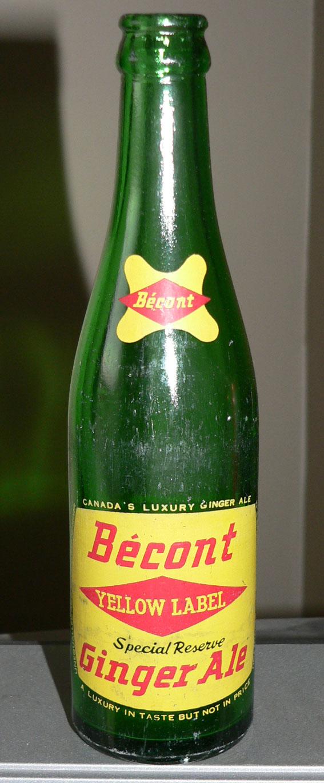 """Bouteille de liqueur ACL """"BÉCONT"""" ginger ale de St-Jérôme & Montréal - 10oz Becont10"""
