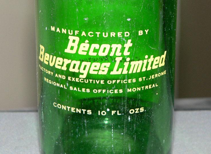 """Bouteille de liqueur ACL """"BÉCONT"""" ginger ale de St-Jérôme & Montréal - 10oz Becont11"""