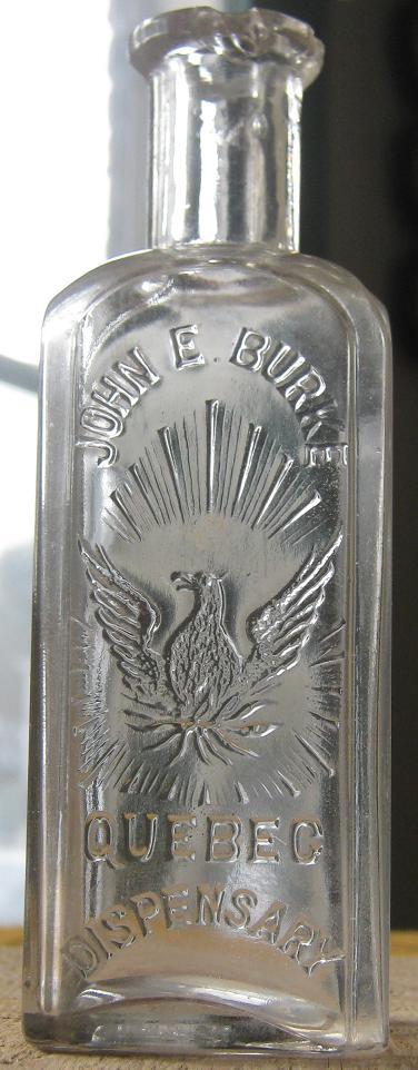 Bouteille de pharmacie 'droguiste' John E. Burke BIMAL de Québec Burke_10