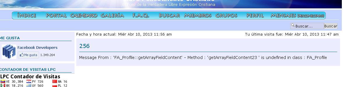 No se ven los mensajes, perfiles y no se puede postear : Message From : 'FA_Profile::getArrayFieldContent'  Dibujo16