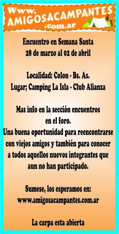 Encuentro Semana Santa 28/03 al 02/04 Colon - Bs. As. 30738210