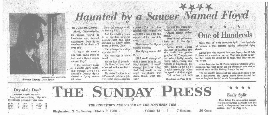 Portage County Ohio, Police UFO chase 1966 Floyd110