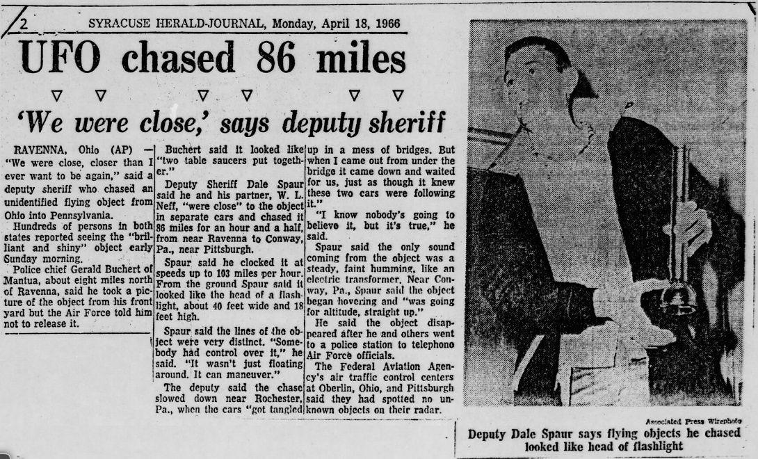 Portage County Ohio, Police UFO chase 1966 Portag13