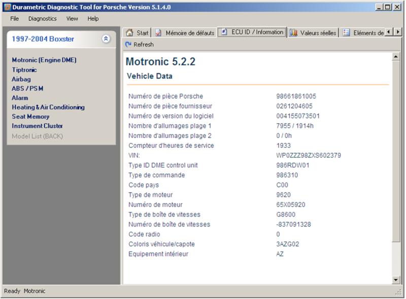 Utilisation du logiciel Durametric avec le cable Chinois ODBII Dme52210
