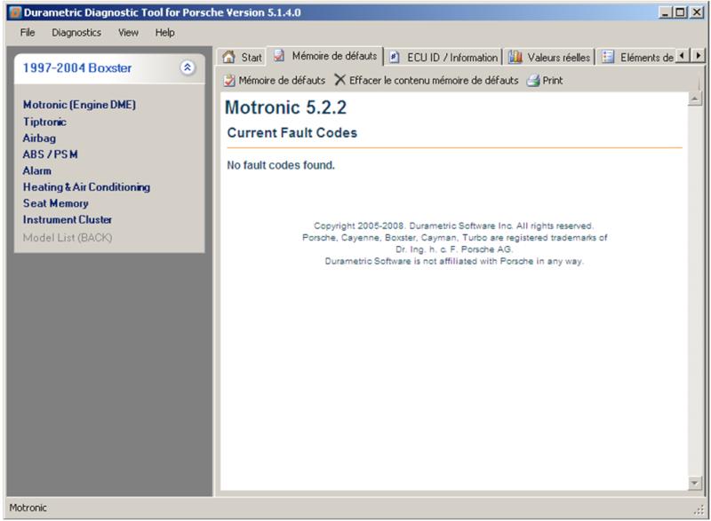 Utilisation du logiciel Durametric avec le cable Chinois ODBII Dme52211