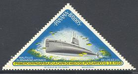 Gesucht: Blaue dreieckige Briefmarke mit Uboot-Motiv 601110