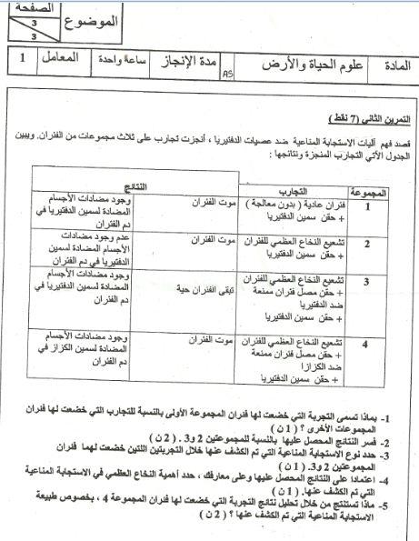 الامتحان الجهوي لنيل شهادة السلك الاعدادي في علوم الحياة والأرض (يونيو 2010) Captur11