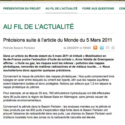 www.petrole-bassin-parisien.fr justifie les opérations de forage imminentes.  Captur10
