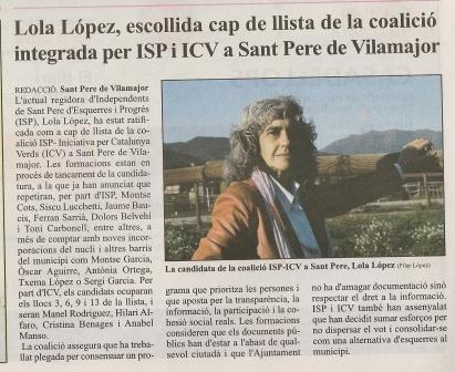 Lola Lopez, escollida cap de llista de la coalició integrada per ISP i ICV a Sant Pere de Vilamajor Escane13