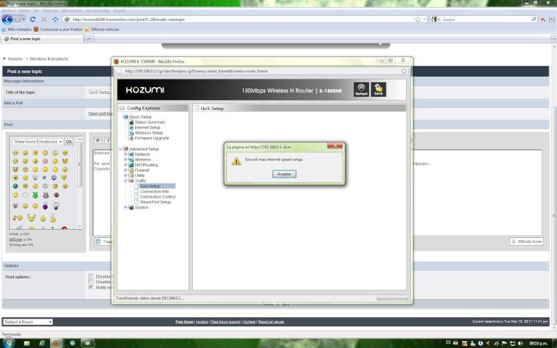 QoS Setup. Problema en configuracion. 211