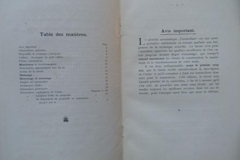 Les manuels pour le pistolet Parabellum modèle 1900, de la DWM. Manuel22