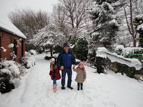 McQueen and Lexie and Lillie in the snow. Dsc00421