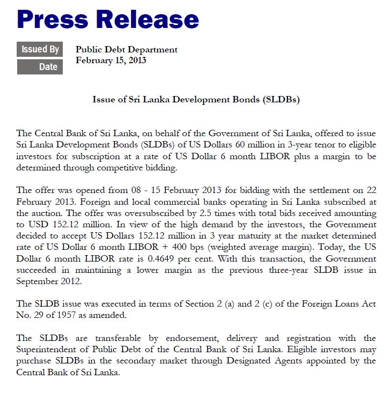 Sri Lanka sells US$152 million in floating rate bonds Cbsl10