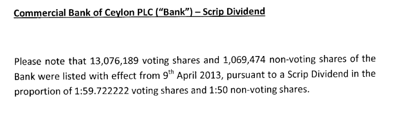 09-Apr-2013 Notification on listing of Scrip Dividend Shares - COMB & SEYB Comb10